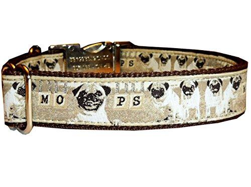 Halsband Mops Hundehalsband Halsung Band Nylon mit Mopsmotiv beige-braun Metallverschluss 38 - 53 cm x 2,5 cm (Mantel Tweed Tuch Jacke)