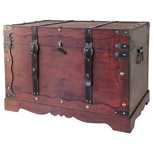 HMF 6400-170 Schatztruhe, mit Schloss, Schatzkiste, Holzkiste Frankreich, 70 x 45 x 48 cm, Aufbewahrungsbox