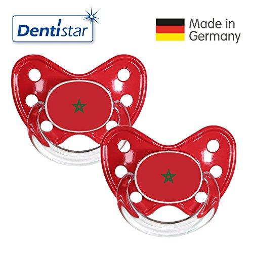 Preisvergleich Produktbild Dentistar® Silikon Schnuller 2er Set inkl. 2 Schutzkappen - Nuckel Größe 3, ab 14 Monate – Fahnen Fan Kollektion – Marokko