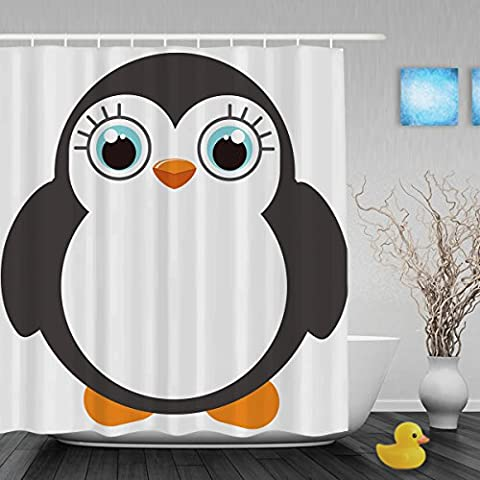 Cute Fat Penguin Decor Bathroom Shower Curtain Cartoon Animals Designed Shower Curtains Waterproof Mildewproof Polyester Fabric 36
