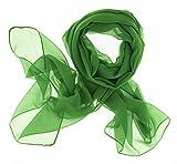 Dolce Abbraccio Damen Schal Stola Halstuch Tuch aus Chiffon für Frühling Sommer Ganzjährig Smaragd Grün