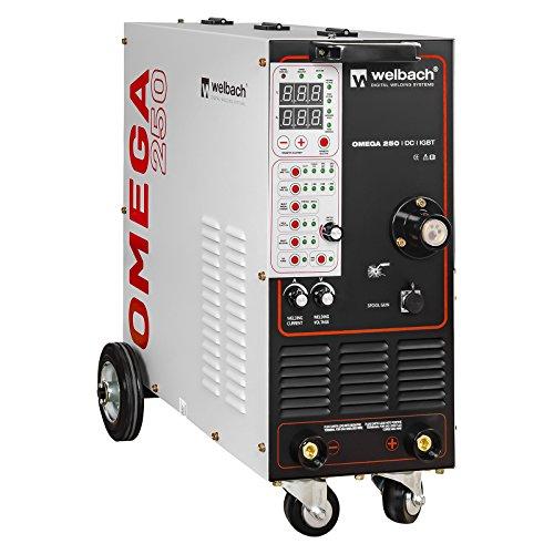 Welbach Omega 250 Schutzgas Schweißgerät Elektrodenschweißgerät (Mig-Mag/E-Hand, 40-250A, 0,6-1,2mm Drahtrollen, 60% Arbeitszyklus, IGBT, Puls, Inkl. Zubehör) Weiß