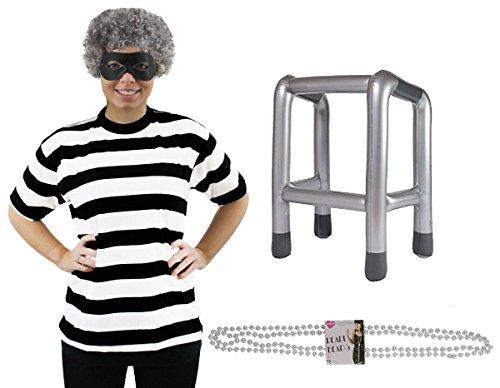 Imagen de adulto gánster abuela disfraz lujo ideal para escuela libros la semana carnaval para mujer y hombre disponible en talla s grande gb 8 18  negro/blanco, uk 16 18