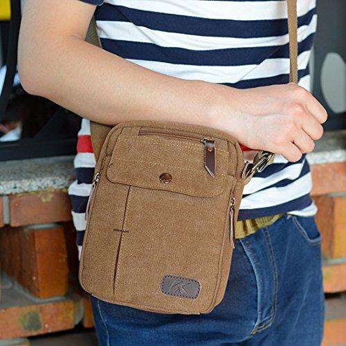 Herren-Umhängetasche, super-modern, klein, Vintage, Leinen, Messenger-Tasche, langlebig, viele Fächer Braun - braun