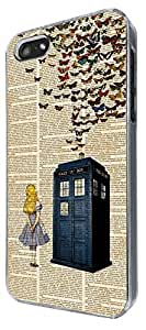 477-Vintage News alice in wonderland Doctor Who Tardis Call Box butterflies Design For All iphone 6 4.7'' / iphone 6 plus 5.5'' / iphone 4 4S / iphone 5 5S / iphone 5C Fashion Trend CASE Back COVER Plastic&Metal -Select your phone model from the drop box under