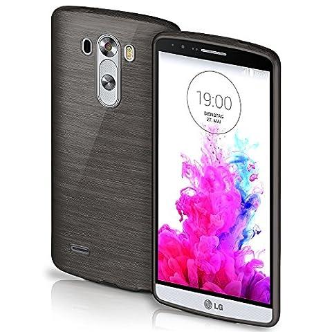 LG G3 Hülle Silikon Schwarz [OneFlow Brushed Back-Cover] TPU Schutzhülle Ultra-Slim Handyhülle für LG G3 Case Dünn Silikonhülle Rückseite Tasche