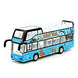 Sunta Modello di Autobus turistico a Due Piani, Auto Giocattolo in Lega Leggera e Leggera, Auto per Bambini, Adatto per Bambini Come Regali, Blu