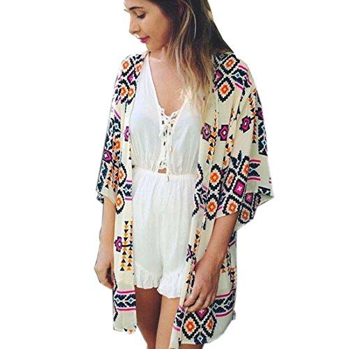 Sannysis Frauen-Geometrie Printed Chiffon-Schal Cover up Bluse (S) 3/4 Sleeve Crop Jacke