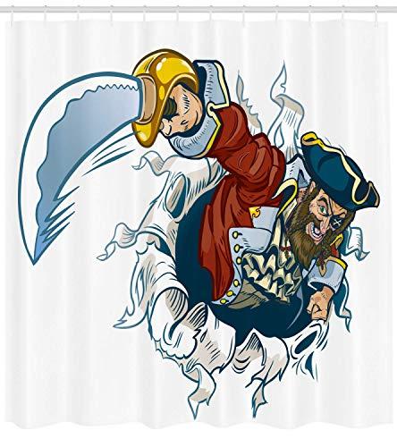 Nyngei Piraten Duschvorhang Cartoon Corsair Buccaneer Rips Out of Backdrop Effekt Brandishing eine...