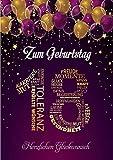 Elegante Glückwunschkarte Geburtstag Geburtstagskarte A5 mit Nummer und Glückwünschen Pink Lila (18. Geburtstag M1)
