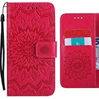 Ougger Funda Huawei Honor 6C (Enjoy 6s, Nova Smart) Carcasa, Flores Floreciendo Silicona Tapa Piel Billetera PU Cuero Magnética Cover Protector con Ranura para Tarjetas (Red)