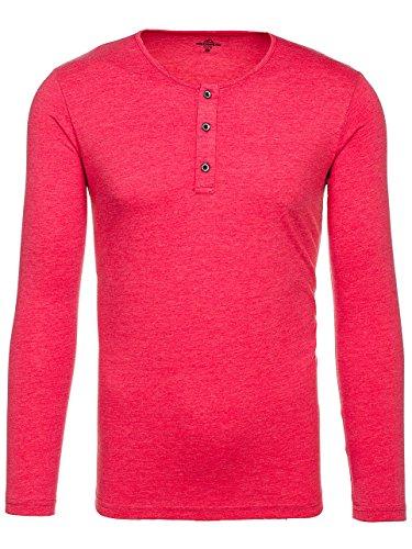 BOLF Herren Longsleeve Sweatshirt Langarm Pulli Figurbetont Farbwahl 1A1 MIX Rot_1114