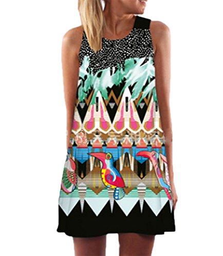 Frauen Vintage Boho Tunika Top Swing T-Shirt Lose Kleid