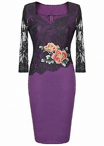 Damen Elegante Kleider 50s Vintage Strickkleid Cocktailkleid Blumenmuster Business Kleid Bleistift-Kleid