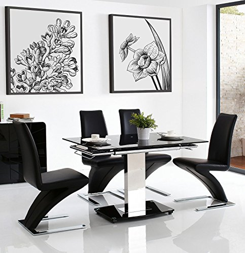 ENZO EXTENDING GLASS TABLE AND Z ZED DINING CHAIRS ...