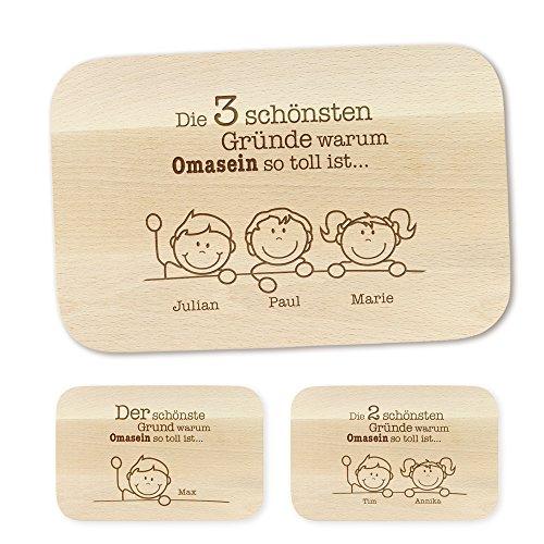 Crazy Kitchen Frühstücksbrettchen – mit Gravur – Gründe für Oma – Personalisiert mit Namen - Brettchen aus Ahornholz – Brotbrett aus Hellem Holz – Geschenkideen für Oma - Geburtstagsgeschenke
