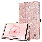 BENTOBEN Funda para Samsung Galaxy Tab A 10.1 2019 Purpurina Libro con Tapa en Cuero de PU con Magnético Resistente Plegable Cover Carcasa para Galaxy Tab A 10.1 SM-T510/SM-T515 Tableta 2019, Oro Rosa