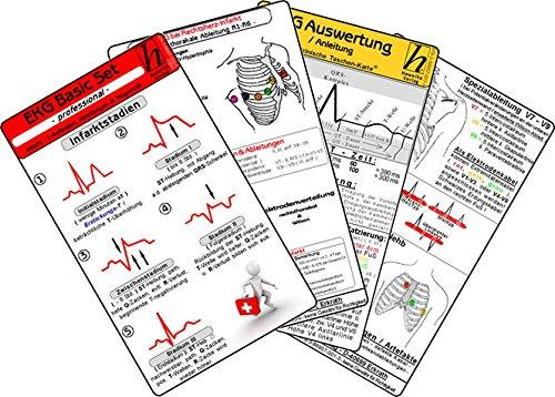 "EKG Basic Set Professional \""EKG-Lineal + Infarkt + Herzrhythmusstörungen + EKG Karte\""  - Medizinische Taschen-Karte"