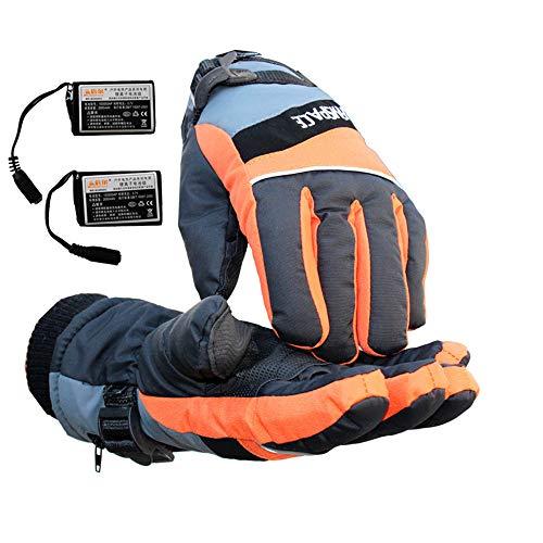 Outdoor Warme Heizung Handschuhe USB-Aufladung Heizung Finger Warm Radfahren Fahrrad Motorrad Wandern Ski Bergsteigen Handschuhe (Farbe : Gelb, größe : L)