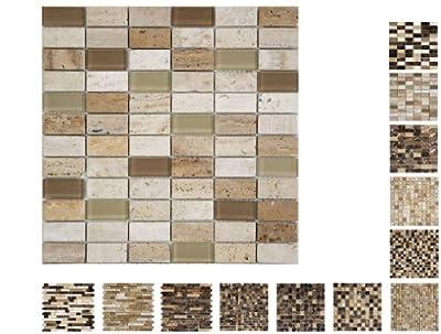 1 Netz Marmor Glas Mosaik Cream Brick Ambiente von Mosaikdiscount24 - TapetenShop