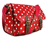 Stylla London Oilcloth Owl/Butterfly/Dog/Skull/Polka dots Designer Satchel Cross body Messenger Bag (Polka Red)