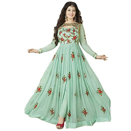 Bigben Turquoise Georgette Embroidery Designer Anarkali Suits