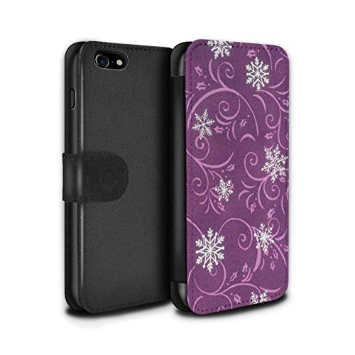 Stuff4 Coque/Etui/Housse Cuir PU Case/Cover pour Apple iPhone 7 / Bleu Design / Motif flocon de neige Collection Rose