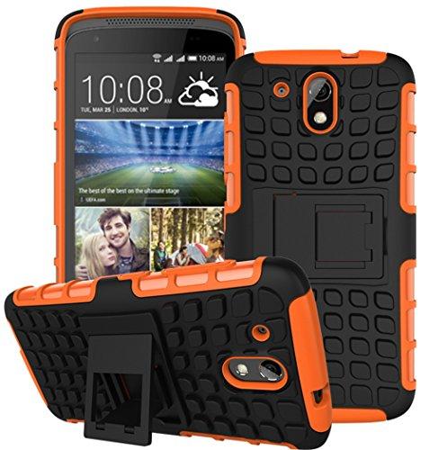 HTC Desire 526G Hülle Nnopbeclik Hybrid 2in1 TPU+PC Schutzhülle Cover Case Silikon Rüstung Armor Dual Layer Muster Handytasche Backcover 360-Grad-Drehung ständer stoßfest Handy Hülle Tasche Schutz Etui Schale Bumper Pour HTC Desire 526G[Schwarz+Orange]