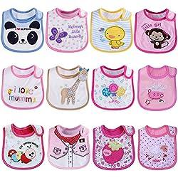 Tomkity Lot de 12 Bébé Bavoirs Imperméables 0 à 36 mois (12pcs-fille)
