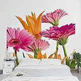 Apalis Vliestapete Blumentapete Flower Melody Fototapete Quadrat | Vlies Tapete Wandtapete Wandbild Foto 3D Fototapete für Schlafzimmer Wohnzimmer Küche | Größe: 240x240 cm, gelb, 97660