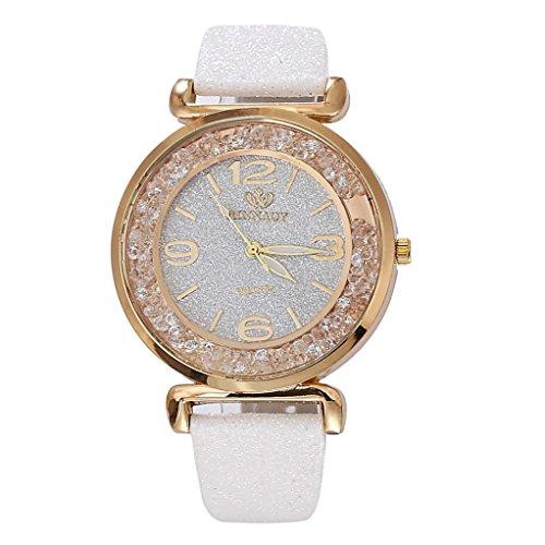 Ouneed® Uhren , Luxus Bling Damen Uhren Strass Keramik Kristall QuarzuhrenKleid Uhr (Weiß)