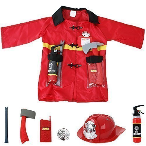 Kostüme Kleinkind (Feuerwehr Einsatzjacke Ausrüstung 8-teilig Kleinkind Kostüm Fasching)