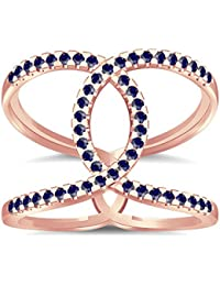 Silvernshine Halo Twist Blue Sapphire CZ Diamond Engagement Ring 14k Rose Gold PL Bridal Ring