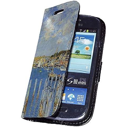 Hassam - The Inland Port Of Gloucester, Nero Portafoglio Magnetico Custodia in Pelle con Funzione di Appoggio Borsa con Disegno Strutturato per Samsung Galaxy S3 Mini i8190