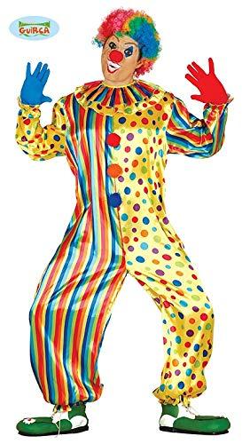 Costume vestito abito travestimento carnevale adulto pagliaccio, clown, giocoliere, buffone - taglia m (48-50)