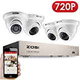 ZOSI 720P CCTV Camera Systems, 8CH 720P HD-TVI DVR with (4) 1280x720P Outdoor Weatherproof Dome Cameras Home Video Security System No Hard