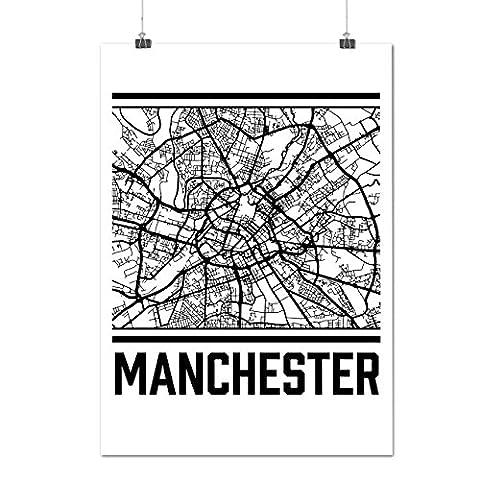 England Manchester Big City Map Matte/Glossy Poster A3 (42cm x 30cm) | Wellcoda