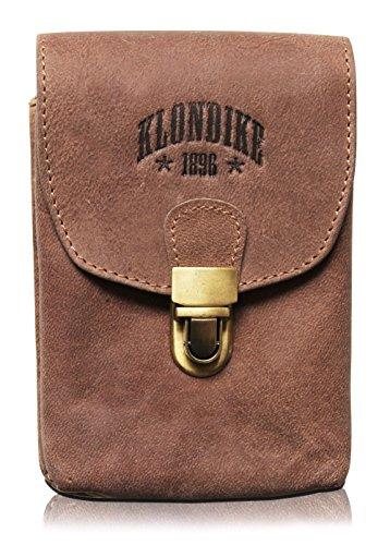 KLONDIKE 1896 Echtleder Gürteltasche \'Bobby\' - Große Hüfttasche für Damen und Herren - Retro Mittelalter/Wikinger/Wander Tasche (Braun)