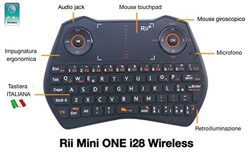 Rii Mini i28 ONE Wireless (layout ITALIANO) - Mini tastiera retroilluminata con touchpad, mouse giroscopico, microfono e presa audio audio jack 3.5 - NERO