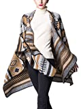 Donna Poncho Mantelle Scialle Elegante Vintage Geometrie Pattern Moda Etno-Style Casual Reversibile Cachemire Knitted Autunno Inverno Mantellina Capes Cardigan Cappotto Top Taglie Forti