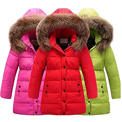 Minetom Mädchen Winter Lang Wintermantel Mantel Jacket Trenchcoat Parka Oberbekleidung Kleidung Rot 146/152 - 5
