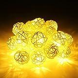 Happyit 3M 20pcs Led Rattankugel Lichterkette String Lights für Neujahr Weihnachts Dekoration Hochzeit Party Home Dekoration Lichter (Gelb)