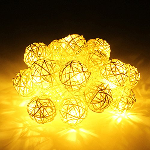 Rattankugel Lichterkette String Lights für Neujahr Weihnachts Dekoration Hochzeit Party Home Dekoration Lichter (Gelb) (Origami Halloween-laterne)