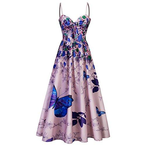 Babyonlinedress® Elegant Damen V Ausschnitt A-linie Kleid Geblümte Sommerkleider Strandkleider mit Schmetterling Blau L