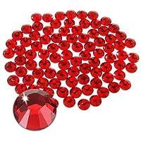 Jollin Hot Fix Cristal de Espalda Plano Vidrio pedrería Gemas de diamantes redondos Strass para decoración de uñas, SS20 576pcs, Rojo