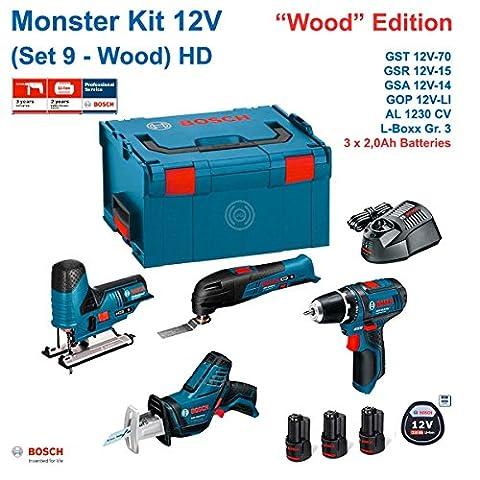 BOSCH Monster Kit 12V Set 9 Special Holz HD (GSR 12V-15 + GSA 12V-14 + GST 12V-70 + GOP 12V-LI + 3 x 2,0 Ah + AL1230CV + L-Boxx 238)