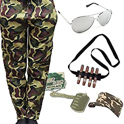Lollipop Clothing Army Camo Fancy Dress Military Adult Hat Dog Tag Cargo Pants Sunglasses Cigar