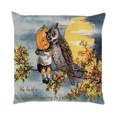 sunwords 45,7x 45,7cm Leinen Halloween Kürbis Kissen Fall Sofa Überwurf Kissenbezug Auto Raum Dekoration, Leinen, 5#, (Halloween Fall Raum Kostüm)