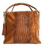 MASSIMA BARONI. Damen Ledertasche. Modell Ottavia. Krokodileffekt-Haut. Umhängetasche. Shopper Tasche (kamel)