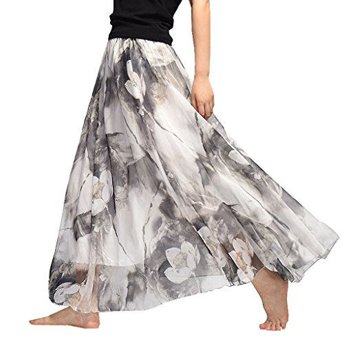 OMSLIFE 2018 Damen Lang Chiffon Kleid Rock Retro Vintage Double-Layer Gefaltet Strand (3, Kleidungslänge 90CM) (Double-layer-chiffon-rock)